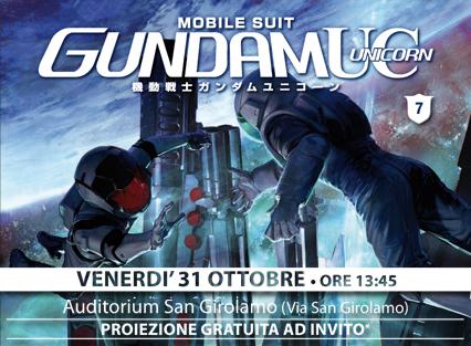 mobile suit gundam unicorn 7 proiezione speciale lucca comics